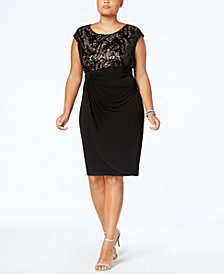 Connected Plus Size Sequined Faux-Wrap Dress