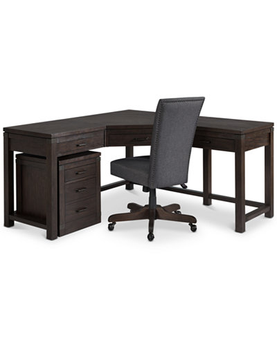 Closeout Hendrik Home Office Furniture 3 Pc Set Corner Desk