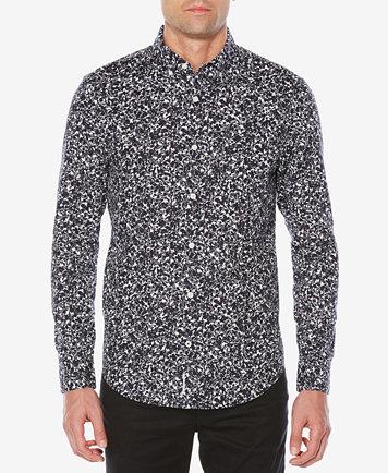 Original Penguin Men's Slim-Fit Floral Shirt - Casual Button-Down ...