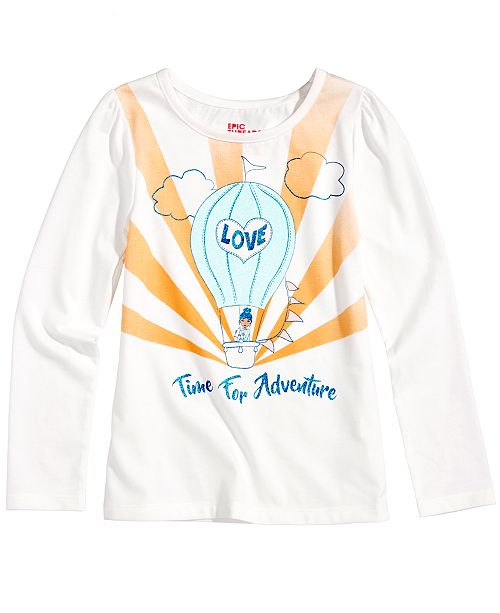 Epic Threads Mix and Match Glitter-Graphic Long-Sleeve T-Shirt, Toddler Girls, Created for Macy's