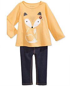 First Impressions Fox-Print T-Shirt & Denim Leggings, Baby Girls, Created for Macy's