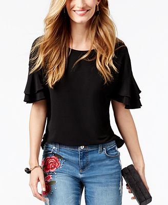 I.N.C. Petite Tiered-Sleeve Top, Created for Macy's