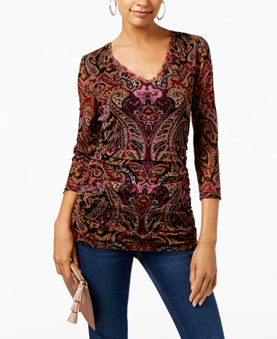 INC International Concepts Paisley-Print V-Neck Top, Only at Macy's
