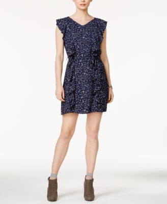 Maison Jules Star Print Ruffled A Line Dress, Created For Macyu0027s
