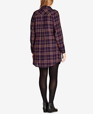city chic trendy plus size plaid tunic shirt - tops - plus sizes