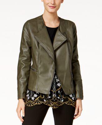 Grey leather hooded jacket women's