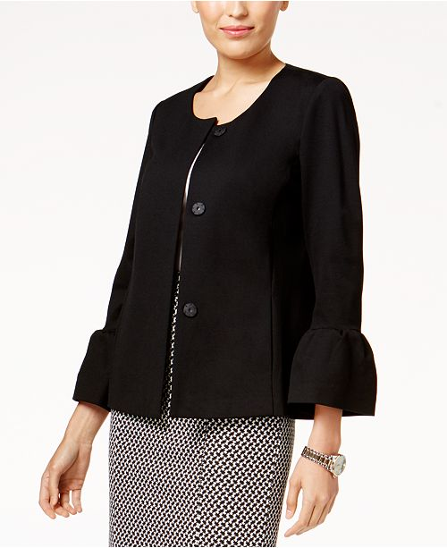 Alfani Collarless Bell-Sleeve Jacket, Created for Macy's