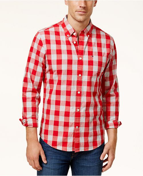 d68355ac Tommy Hilfiger Men's Custom-Fit Check Shirt, Created for Macy's ...