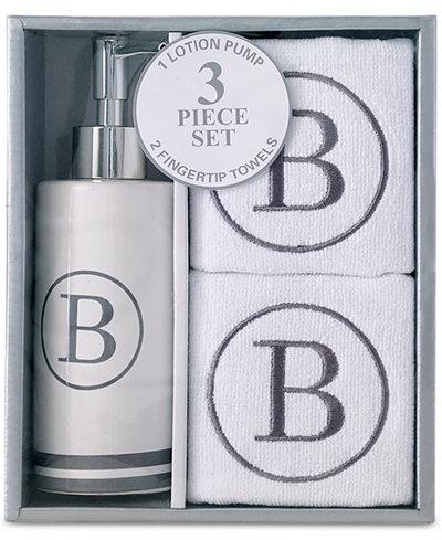 Avanti Monogram 3-Pc. Fingertip Towel & Lotion Pump Set