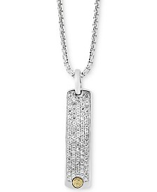 EFFY® Men's White Sapphire Dog Tag Pendant Necklace (2 ct. t.w.) in Sterling Silver & 18k Gold
