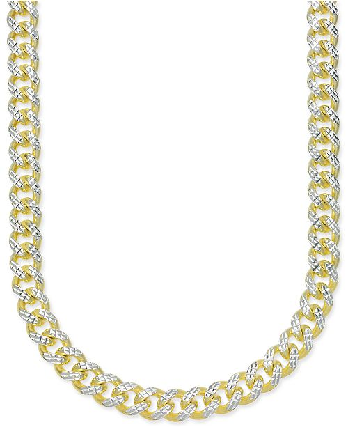 "Macy's 24"" Men's Two-Tone Cuban Link Chain Necklace in 18k Gold-Plated Sterling Silver and Sterling Silver"