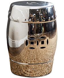 Suri Chrome Ceramic Garden Stool, Quick Ship