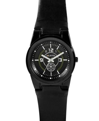Unlisted Watch, Men's Black Leather Strap UL1094