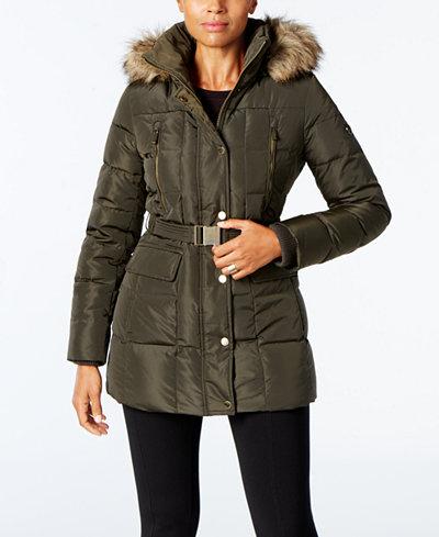 MICHAEL Michael Kors Faux-Fur-Trim Belted Down Puffer Coat, A ...