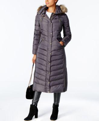 Faux-Fur-Trim Maxi Puffer Coat