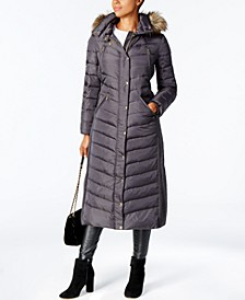 Faux-Fur Trim Hooded Down Coat