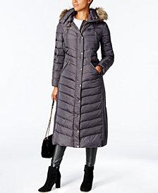 MICHAEL Michael Kors Faux-Fur-Trim Maxi Puffer Coat