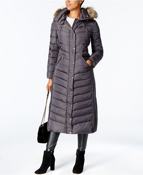 45161852155 Michael Kors Faux-Fur-Trim Maxi Puffer Coat   Reviews - Coats ...