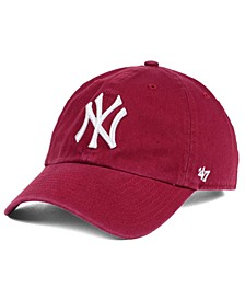 New York Yankees Cardinal and White CLEAN UP Cap