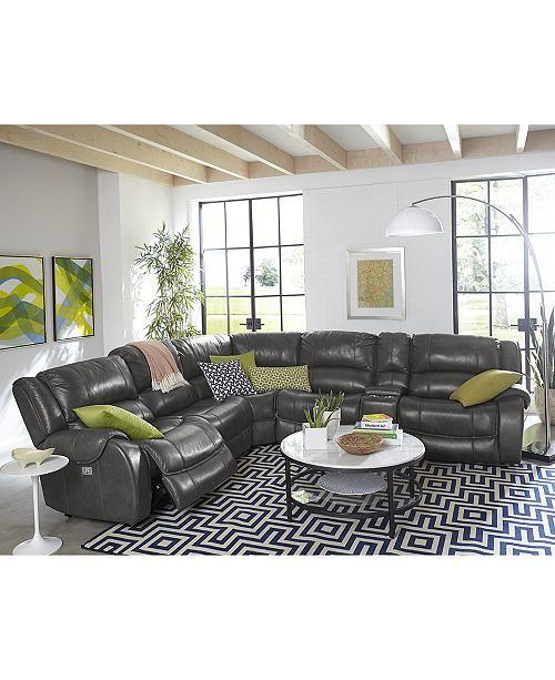 Furniture Rinworth Leather Power Reclining Sectional Sofa Collection ...