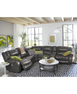 Rinworth Leather Power Reclining Sectional Sofa Collection With Power  Headrests And USB Power Outlet