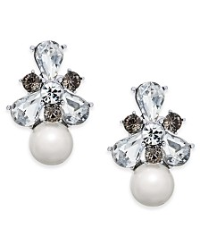 Charter Club Silver-Tone Crystal & Imitation Pearl Drop Earrings, Created for Macy's