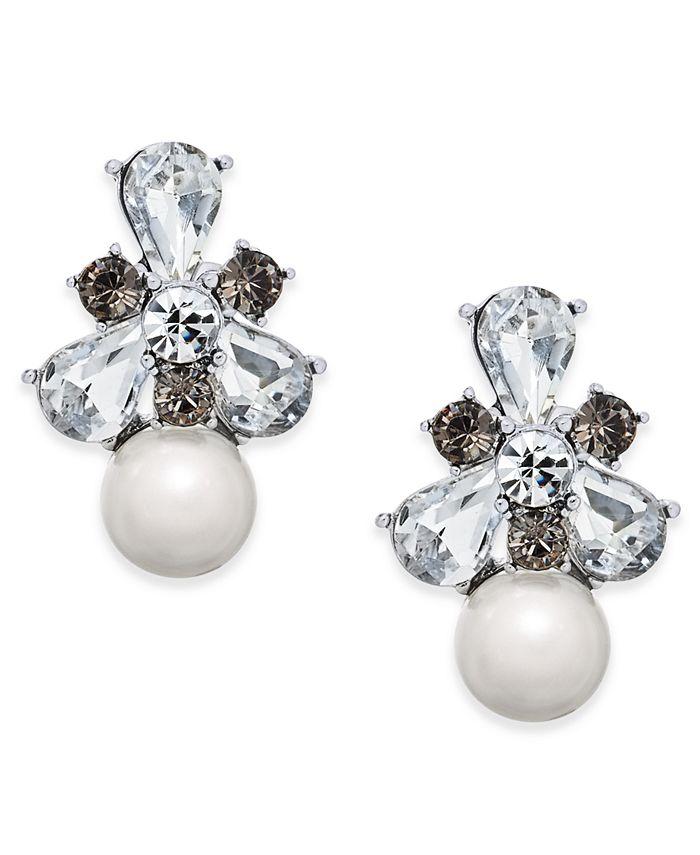 Charter Club - Silver-Tone Crystal & Imitation Pearl Drop Earrings