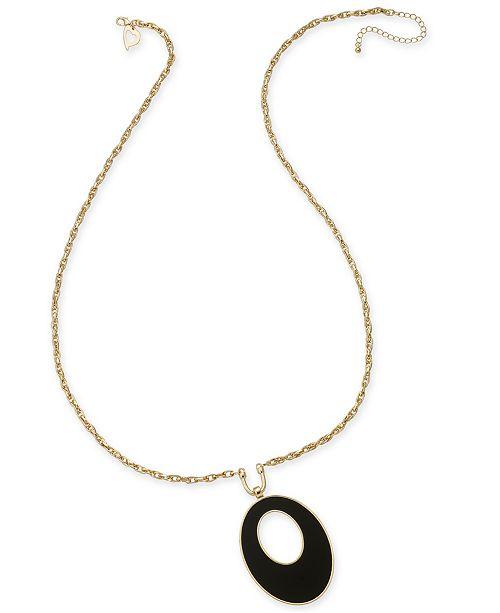 Thalia Sodi Thai Sodi Gold-Tone Jet Stone Oval Pendant Necklace, Created for Macy's