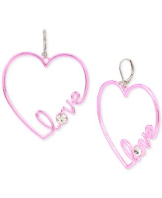 Image of Betsey Johnson Pink-Tone Crystal Love Heart Drop Earrings