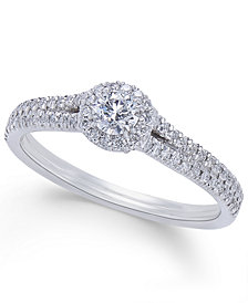 Diamond Halo Engagement Ring (1/2 ct. t.w.) in Platinum