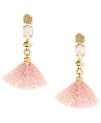 Lucky Brand Gold-Tone Stone & Fringe Drop Earrings