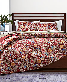 CLOSEOUT! Martha Stewart Collection Climbing Blossoms  100% Cotton Reversible Twin Quilt, Created for Macy's