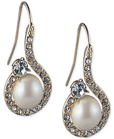 Caroloee Gold-Tone Imitation Pearl & Crystal Swirl Drop Earrings