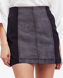 Free People Modern Femme Color Block Denim Mini