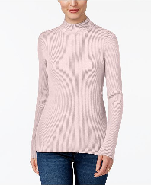Karen Scott Cotton Ribbed Turtleneck Top, Created for Macy's