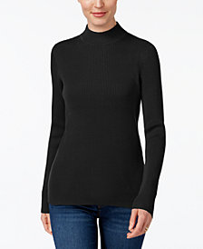 Karen Scott Petite Cotton Ribbed Mock-Neck Sweater, Created for Macy's