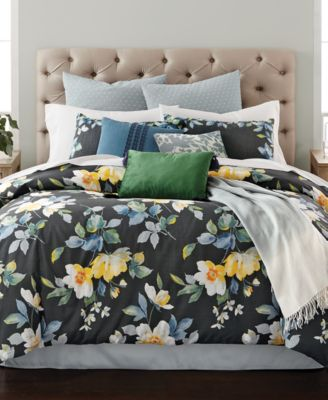 CLOSEOUT! Contrast Blooms 14-Pc. Queen Comforter Set, Created for Macy's