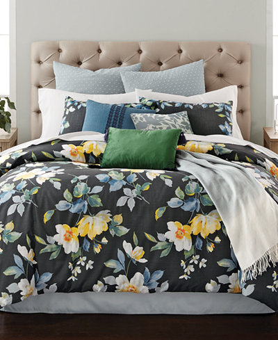 CLOSEOUT! Martha Stewart Collection Contrast Blooms 14-Pc. Queen Comforter Set, Created for Macy's