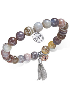 Paul & Pitü Naturally Two-Tone Agate Beaded Stretch Charm Bracelet