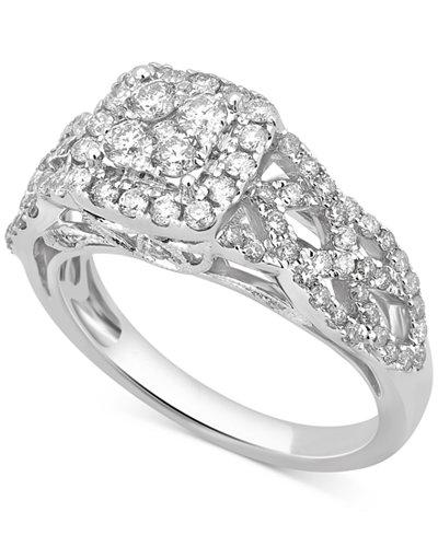 diamond crown engagement ring 1 ct tw in 14k white gold - Crown Wedding Ring