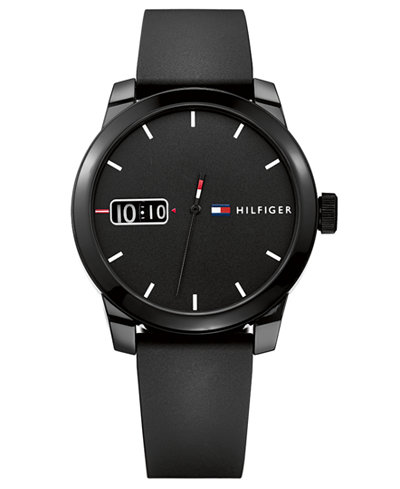 Tommy Hilfiger Men's Black Silicone Strap Watch 42mm, Created for Macy's