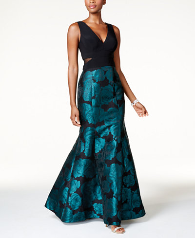 Xscape Illusion Floral-Brocade Mermaid Gown
