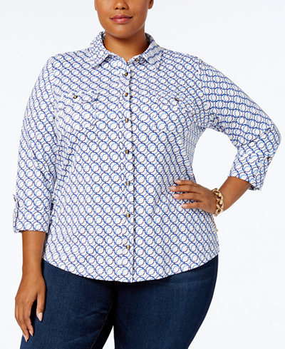 Charter Club Plus Size Chain-Print Utility Shirt, Created for Macy's