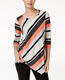 NY Collection Striped Asymmetrical-Hem Top