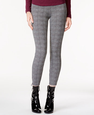Maison Jules Plaid Pull-On Skinny Pants, Created for Macy's