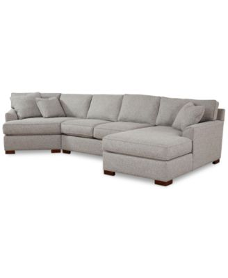 Carena 3-Pc. Fabric Sectional with Armless Loveseat and Cuddler Chaise Created for Macyu0027s - Furniture - Macyu0027s  sc 1 st  Macyu0027s : cuddler chaise - Sectionals, Sofas & Couches