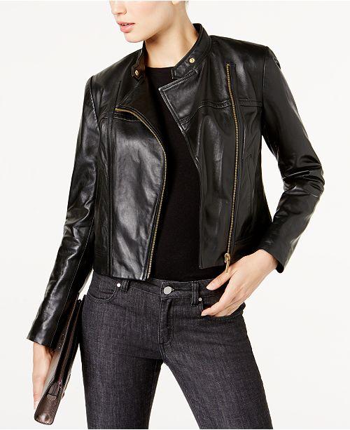 a15e3a0623e9 Michael Kors Leather Moto Jacket in Regular   Petite Sizes   Reviews ...