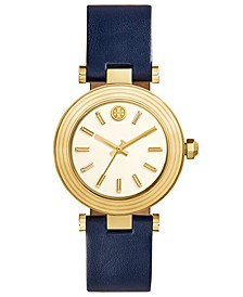 Women's Classic T Navy Leather Strap Watch 36mm