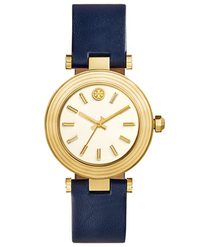 Tory Burch Women's Classic T Navy Leather Strap Watch 36mm