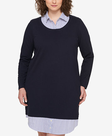 Tommy Hilfiger Plus Size Layered-Look Sweater Shirtdress, Created ...